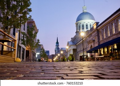 Cobbled Streets at Dawn in the Old Town of Montreal