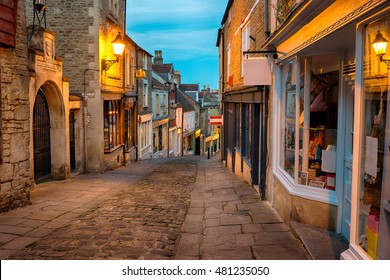 Cobbled streets and quaint buildings on Catherine Hill at Frome in Somerset