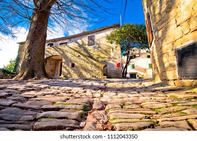 Cobbled village of Groznjan on istrian hill street view, Istria region of Croatia