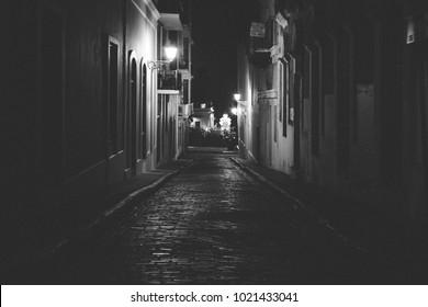 Cobblestone alley in Old San Juan, Puerto Rico