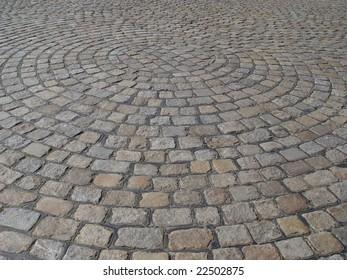 Cobblestone of German street background