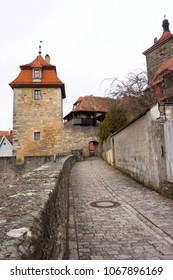Cobblestone  pathway running through historic Rothenburg, Germany.