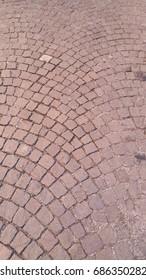cobblestone pavement in Bologna