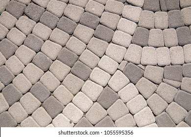 Cobblestone Pavement Vector with a radial patterned. Stone pavement texture. Granite cobblestoned pavement background.