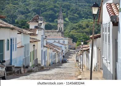 Cobblestone street in Cidade de Goias, Brazil