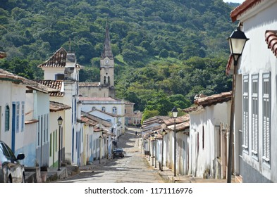 Cobblestone street in Cidade de Goias and forest in the background of this gorgeous city in the Central West region of Brazil