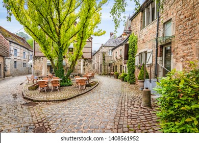 Cobblestone street in the old town center of Durbuy, Belgium.