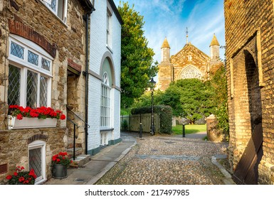 Cobblestone streets and cottages in Rye, East Sussex