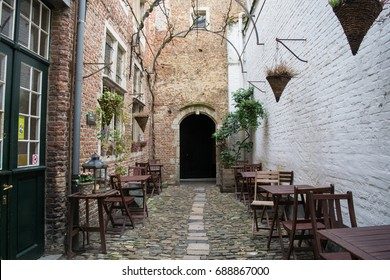The cobblestone Vlaeykensgang alley in the city centre of Antwerp, Belgium