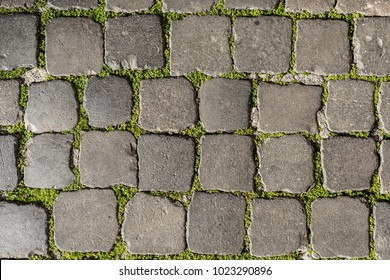 Cobblestones ground in Rome, Italy