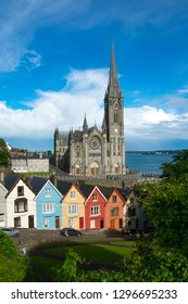 Cobh Cathedral colored houses Landscape clear sky