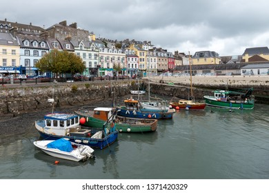 COBH, CORK / IRELAND - OCTOBER 8,2018: Scenery view of the colorful boats in the port of the city