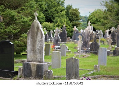 Cobh, County Cork / Ireland - August 14 2018: The Old Church Graveyard in Cobh is a landmark having a mass grave for the victims of the Lusitania sinking during World War One.