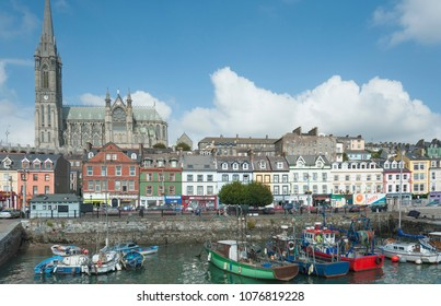 Cobh, Ireland 09/21/2014- Cityscape of Cobh Ireland with St. Colman's cathedral dominating the rest of the buildings