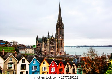 Cobh, Ireland. Aerial view at houses and Cathedral in Cobh, Ireland. Famous city and popular touristic destination