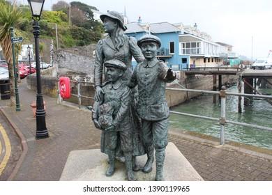 Cobh, Ireland, April 9th 2019: Annie Moore statue in Cobh in Ireland