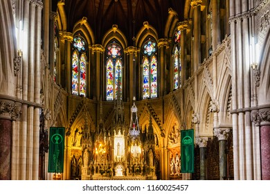 COBH, IRELAND - JULY 13, 2018: The interior of St Colman's Cathedral in Cobh, Ireland