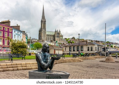 COBH, IRELAND - MAY 22: Statue of the Navigator with the Cathedr