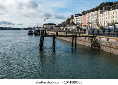 Cobh, Ireland - November 9, 2017: Waterfront of Cobh a sunny morning. Cobh is a picturesque irish town near Cork
