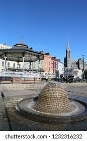 COBH, IRELAND - OCT 14, 2018: Cityscape and garden on Oct 14, 2018 in Cobh, Ireland. Cobh was formerly known as Queenstown under British rule.