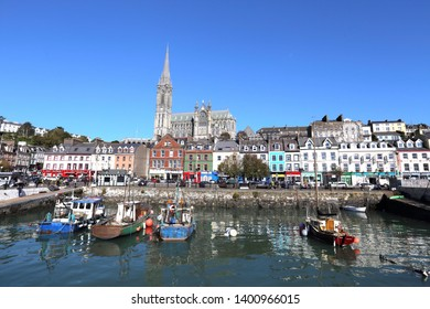 COBH, IRELAND - OCT 14, 2018: Cityscape and harbour on Oct 14, 2018 in Cobh, Ireland. Cobh was formerly known as Queenstown under British rule.