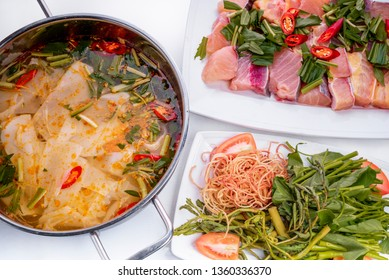 cobia fish With sour bamboo shoots  hot pot on white background