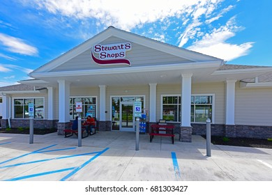 COBLESKILL, NEW YORK - JUNE 9 2017: Stewart's Shops are a chain of highway gas and convenience stores throughout the Northeastern US