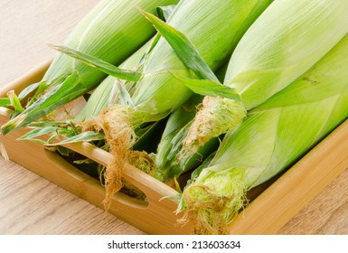 Cobs of corn in a wooden tray