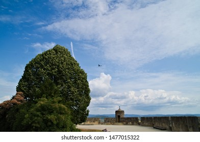 Coburg, Bavaria / Germany - August 7, 2019 On the veste (fortress) coburg. The fortress built medieval castle overhangs the city of Coburg in the Upper Franconian border area to Thuringia.
