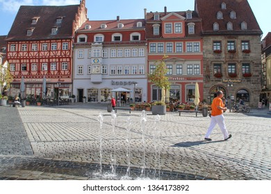 Coburg, Bavaria/Germany-22 Aug. 2017: The old town of Coburg, people and old buildings, park and streets