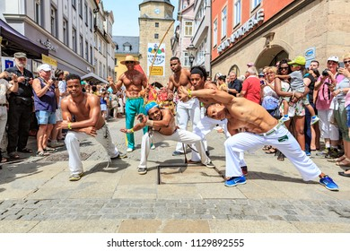COBURG, GERMANY - JULY 10, 2016: An unidentified male capoeira dancer participates at the annual samba festival in Coburg, Germany