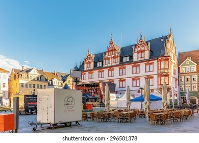 COBURG, GERMANY - JULY 11 2015: Historical Buildings in the franconian city of Coburg in northern Bavaria, Germany on a warm summer morning