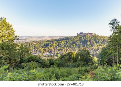 COBURG, GERMANY - JULY 11 2015: Historical Buildings in the franconian city of Coburg in northern Bavaria, Germany on a warm summer morning. Medieval Castle on a hill. Landmark Veste Coburg