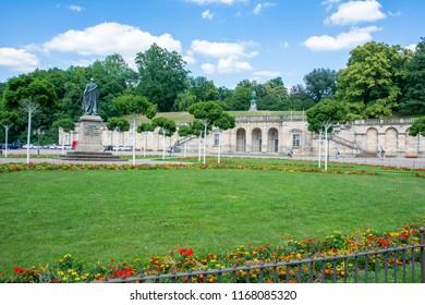 COBURG, GERMANY - JUNE 20: Tourists in the Arkaden park in Coburg, Germany on June 20, 2018.