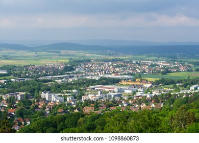 Coburg, Germany, May 11th 2018. The panorama of the city ftom the hill with the fortress