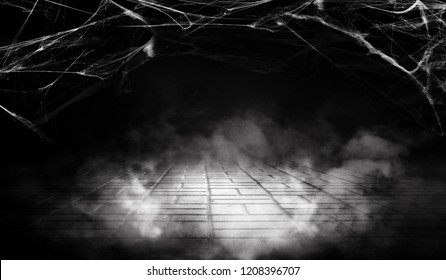 Cobweb in the basement at night, neon light, smoke, fog, concrete, smog. Halloween background