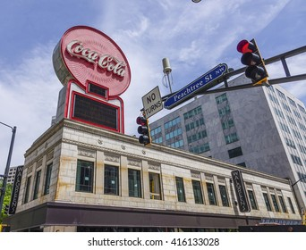 Coca Cola at Peachtree street Atlanta - ATLANTA, GEORGIA - APRIL 21, 2016