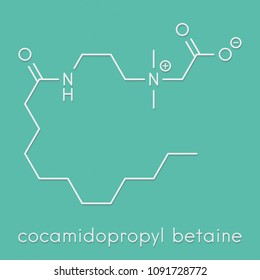 Cocamidopropyl betaine (CAPB) synthetic surfactant molecule. Used in shampoo, soap, hair conditioner, etc. Skeletal formula.