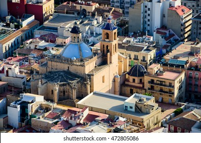 Co-cathedral Saint Nicolas in Alicante hidden between the houses, Spain