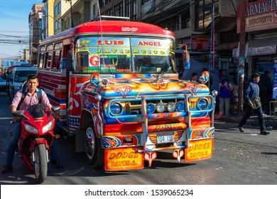 COCHABAMBA, JULY 21: Traditional public transport bus in Cochabamba city on July 21, 2017 in Cochabamba, Bolivia