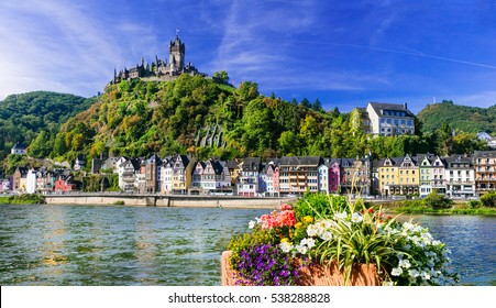 Cochem - beautiful medieval town in Germany, famous Rhein river