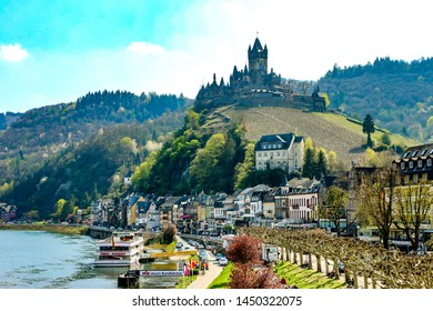 Cochem / Germany - April 15, 2019 : Beautiful landscape of the Cochem Castle scene and old architecture antique building