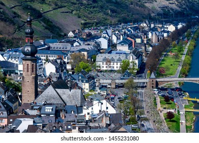 Cochem / Germany - April 15, 2019 : Beautiful landscape of Cochem town, A small city among mountain with Old castle and beautiful river and house or Europe building