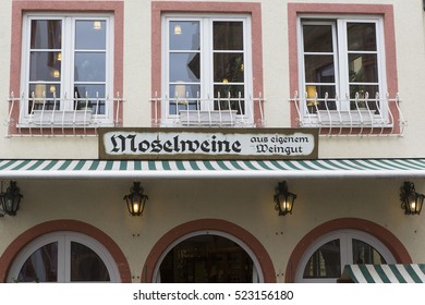 COCHEM, GERMANY - APRIL 29, 2014: Shop selling a collection of local wines
