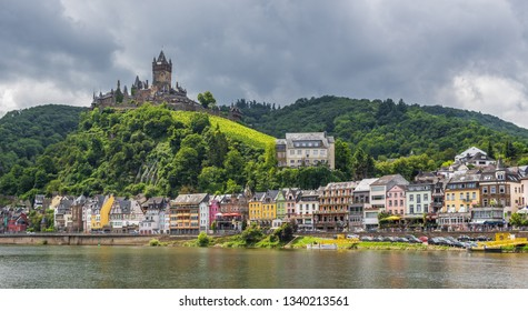 Cochem, Germany - June 20th 2016 - on the left bank of the Moselle river, the Cochem Imperial castle is one of the most beautiful castles of Moselle valley. Here in particular its Gothic architecture