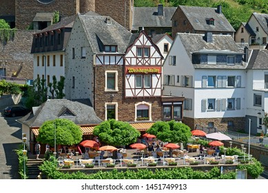 Cochem, Germany - June 2nd, 2019: Historic Cochem in Germany along the river Moselle with its castle on the mountain