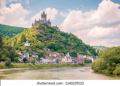 Cochem Germany Mosel river July 2018, colorful village alongside the mosel river on a bright summer day