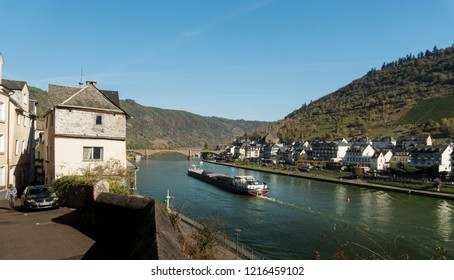 COCHEM, GERMANY, OCTOBER 2018 - A boat on the River Moselle at Cochem, Germany