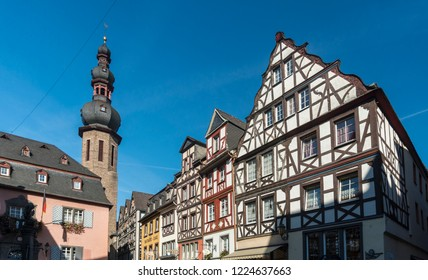 COCHEM, GERMANY, OCTOBER 2018 - Building facades in Market square in the city of Cochem, Germany