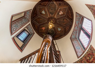 COCHEM, GERMANY, OCTOBER 2018 - Decorated wooden ceiling and windows of a round castle tower interior, Cochem, Germany